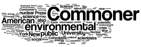 """Barry Commoner and the Science of Survival."" My dissertation from 2004. Word cloud generated by wordle.net."